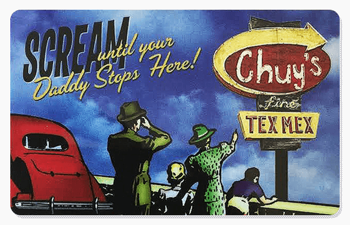 Image of a gift card with the Chuy's             logo and text saying Ho Ho Dough and an illustration of Santa Claus sitting in a sleigh holding a gift card and eating a taco             with a Chuy's bag next ot him.